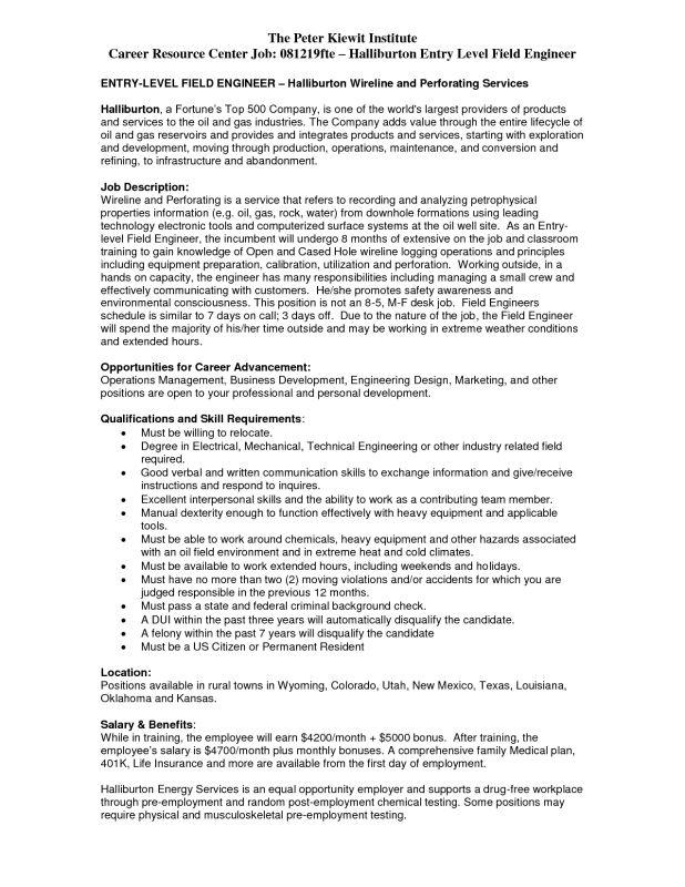 Halliburton Field Engineer Sample Resume - uxhandy.com