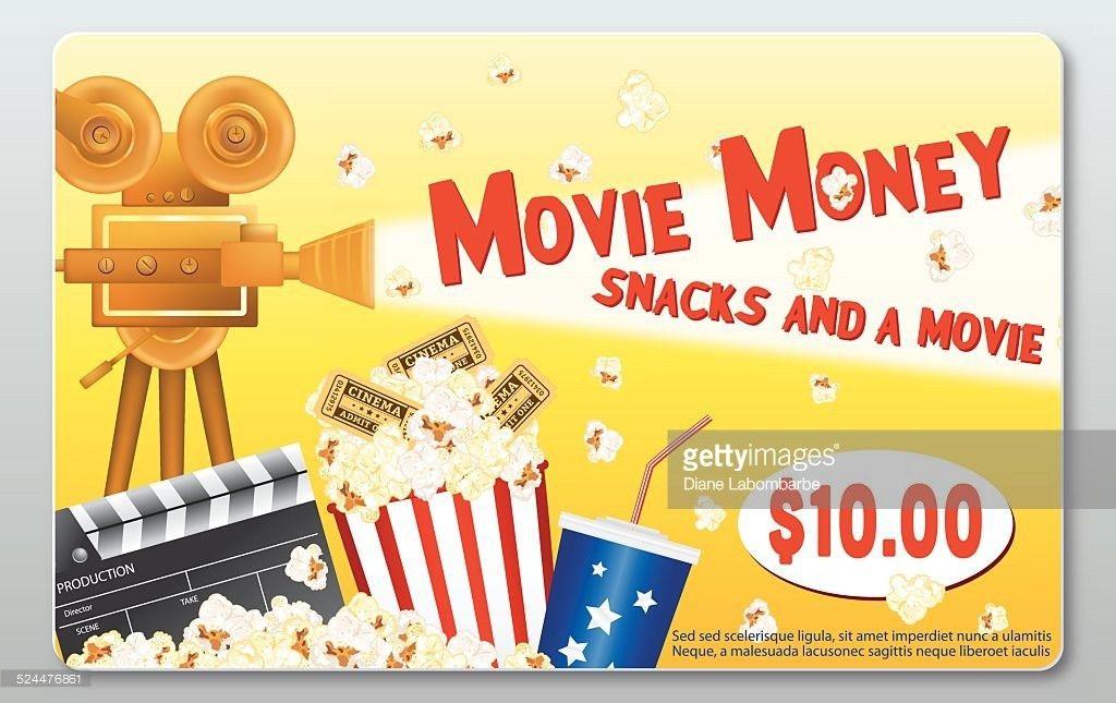 Movie Theatre Template Background Film Curtains Popcorn Tickets ...