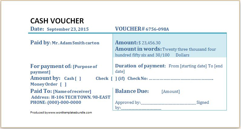 MS Word Cash Voucher Template | Formal Word Templates