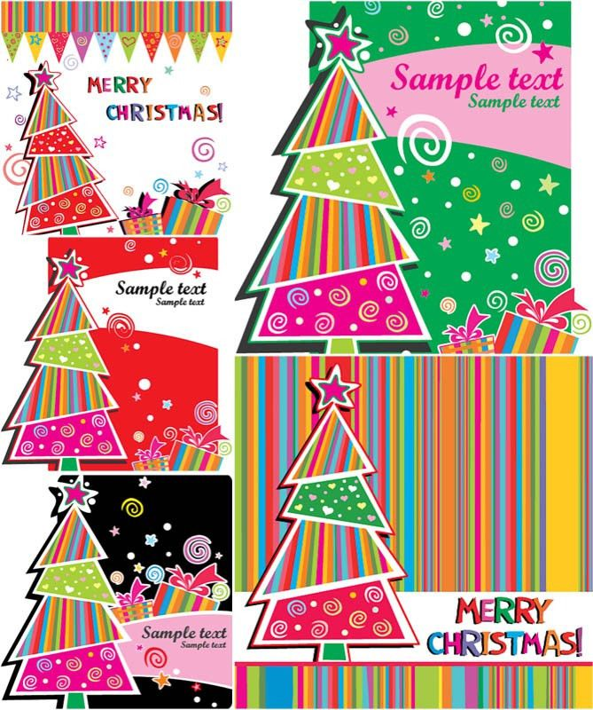 Colorful Christmas cards vector | Vector Graphics Blog