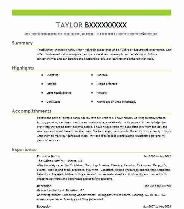 best full time nanny resume example livecareer
