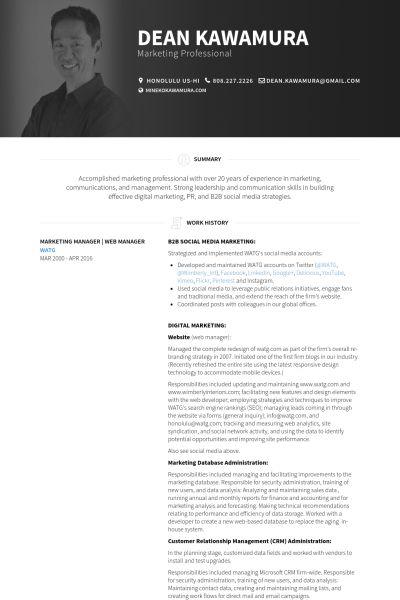 Marketing Manager Resume samples - VisualCV resume samples database