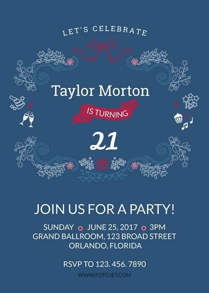 21st Birthday Party Invitations Template | FotoJet