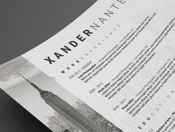 Photographer Resume Template: Photoshop PSD Instant Download.