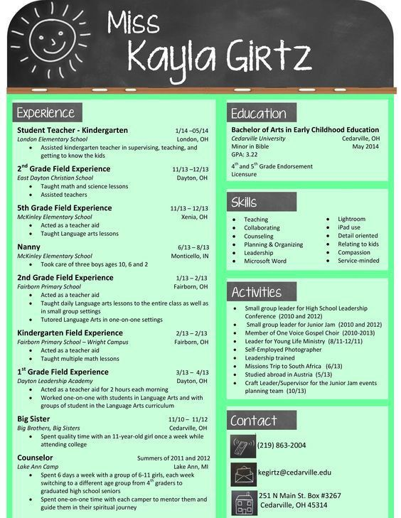 Resume Examples. 11 awesome teaching resume templates download for ...