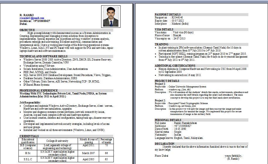 System Administrator resume Dubai, Dubai, United Arab Emirates
