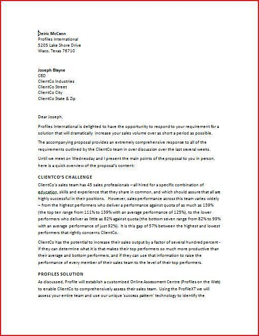 Download Sample Proposal Cover Letter | haadyaooverbayresort.com