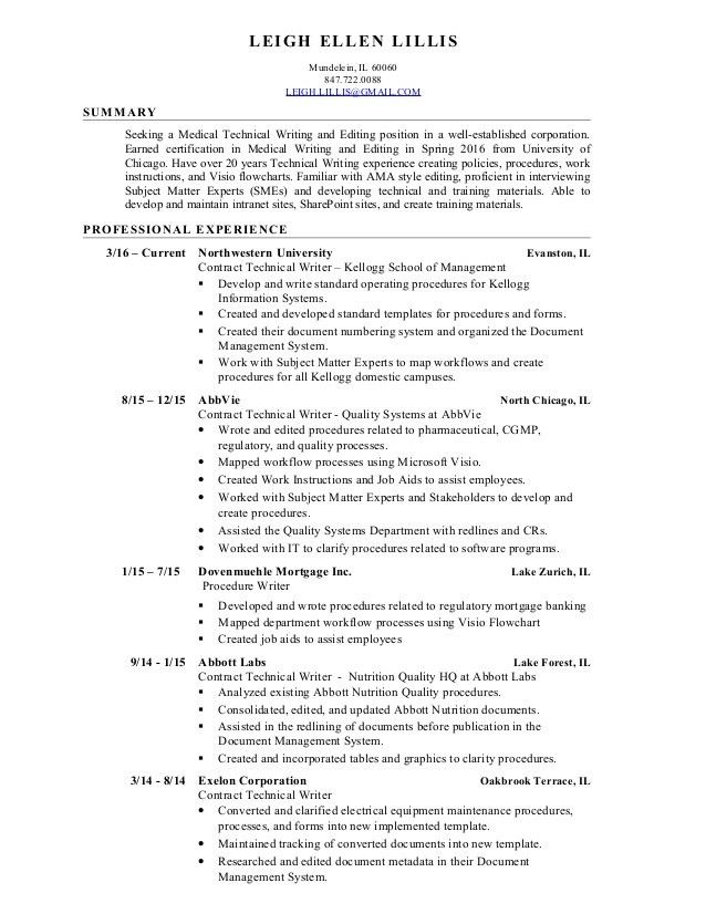 Leigh lillis Medical Technical Writing and Editing Resume 8 2016