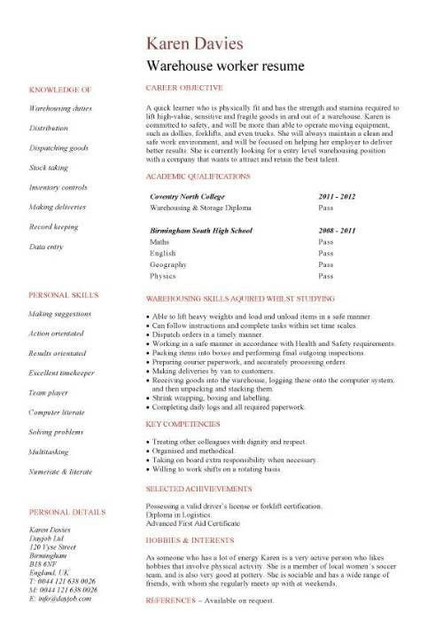 sample warehouse resume examples. resume personal statement ...
