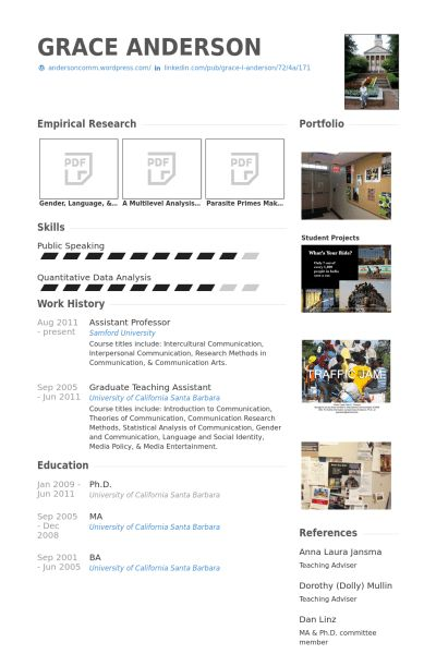 Assistant Professor Resume samples - VisualCV resume samples database