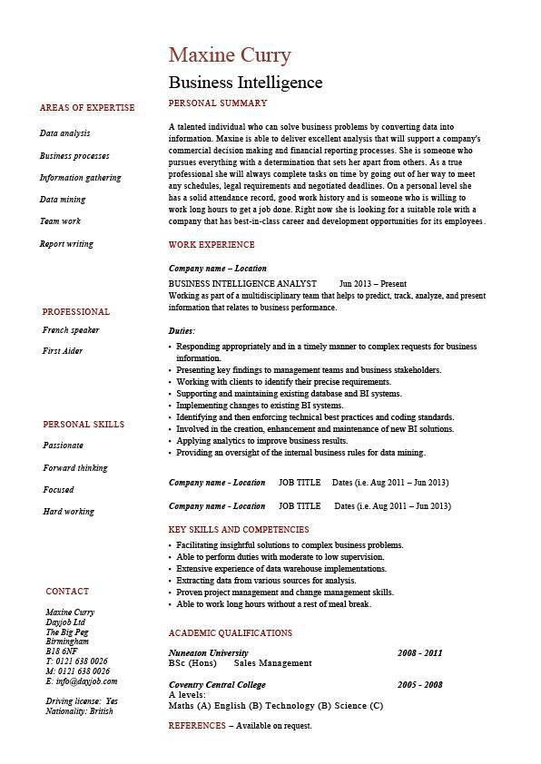 Ingenious Idea Business Intelligence Resume 5 Business ...