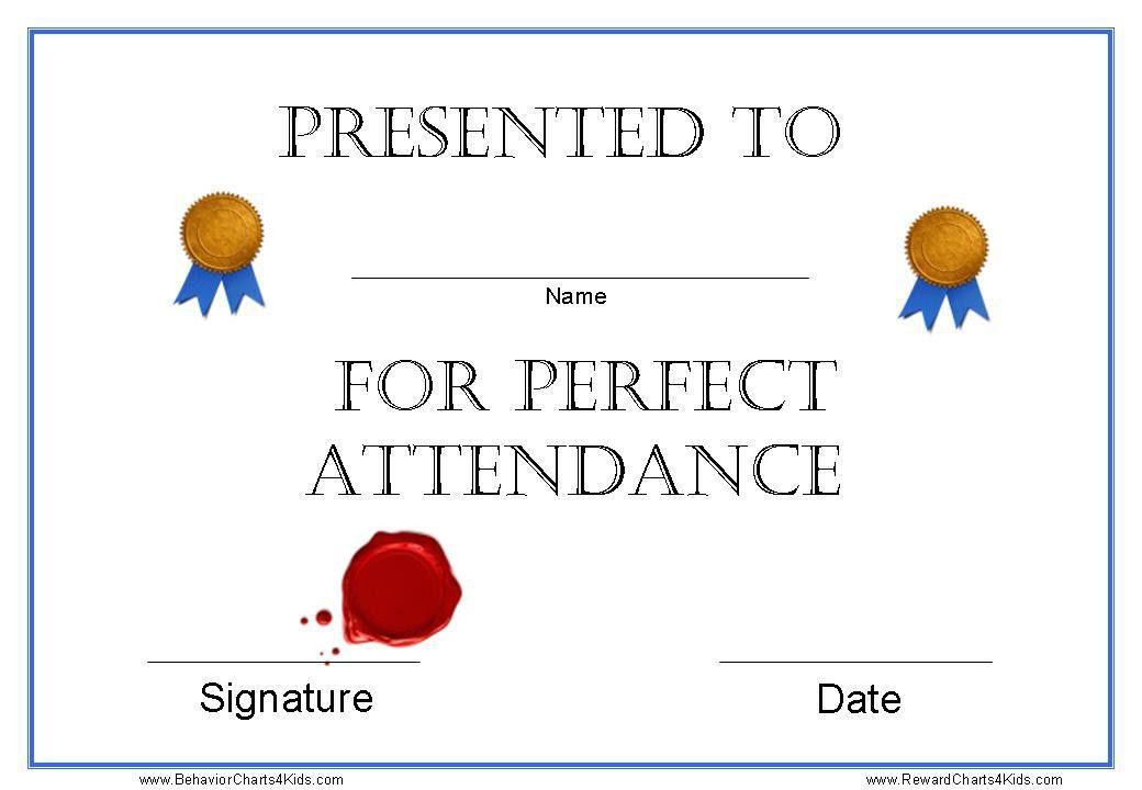 Attendance Certificates Printable [Template.billybullock.us ]