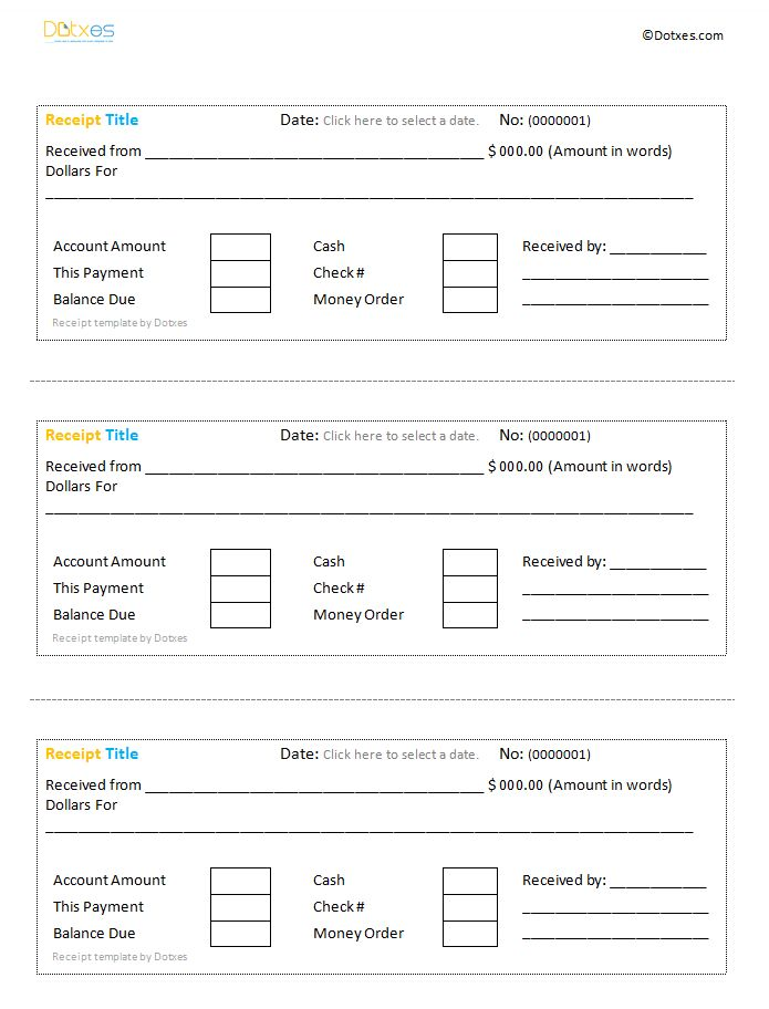 Cash receipt template by Dotxes - Save Word Templates