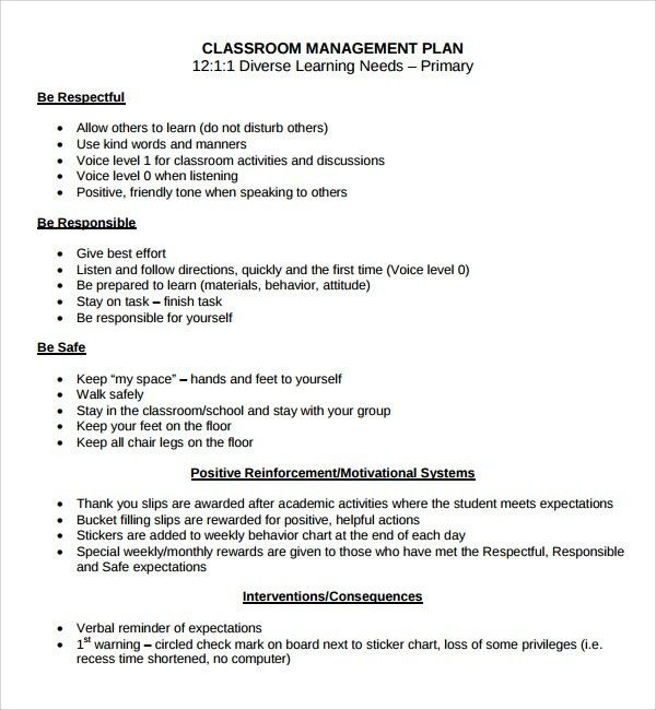 Sample Classroom Management Plan Template - 9+ Free Documents in ...