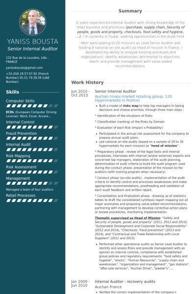 Auditeur Interne Exemple de CV - Base de données des CV de VisualCV
