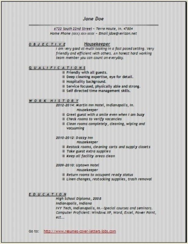 Housekeeper Resume Objective   Template Design