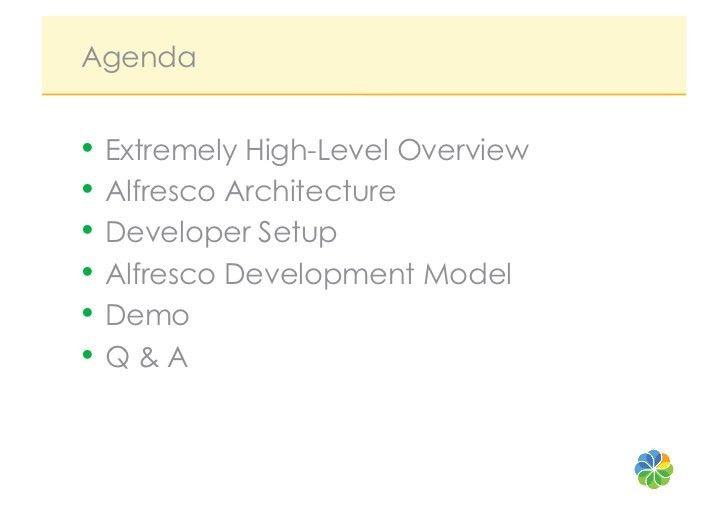 Developer's intro to the alfresco platform