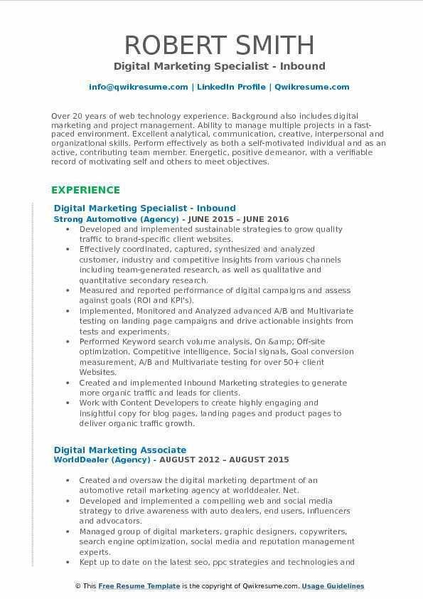 Digital Marketing Specialist Resume Samples | QwikResume