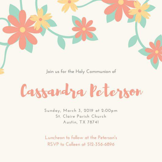 Pastel Floral First Communion Invitation - Templates by Canva