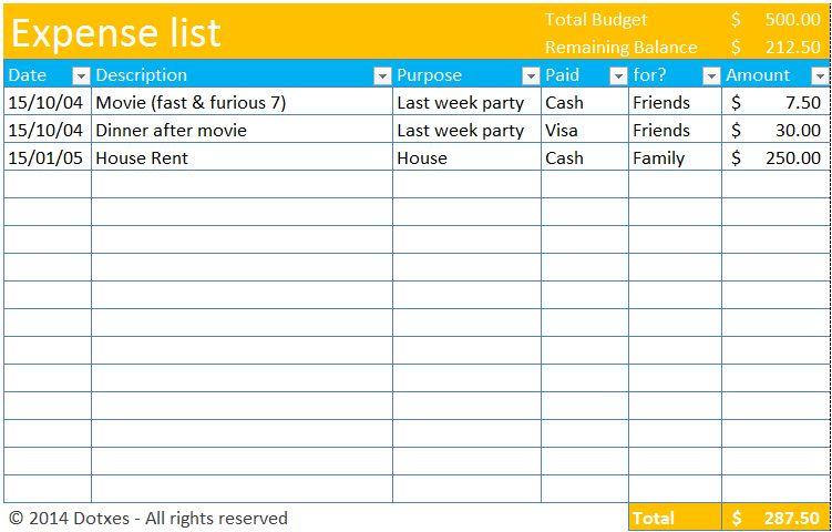 Expense list template - Dotxes