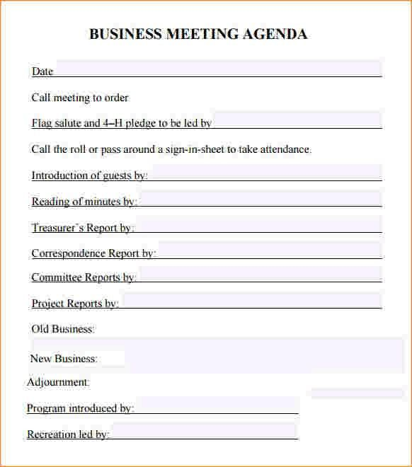 4+ business meeting agenda template | Outline Templates