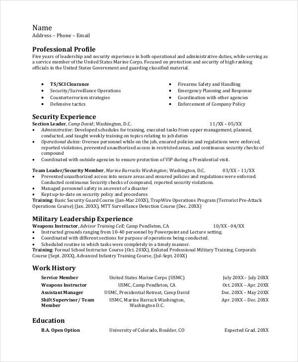 Infantryman Resume Template - 7+ Free Word, PDF Document Downloads ...