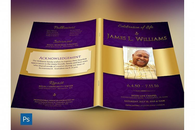 Regal Funeral Program Large PSD Templat | Design Bundles