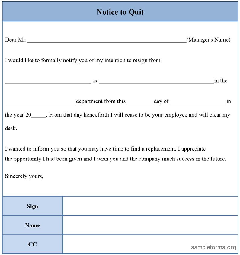 Notice to quit form, sample Notice to quit form | Sample Forms ...