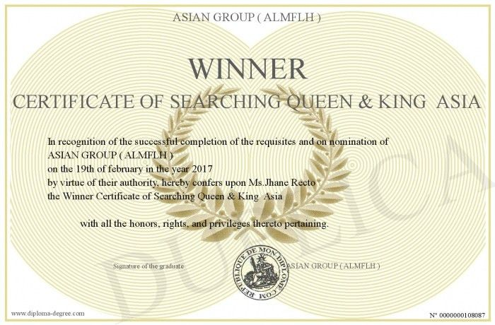 Winner-Certificate-of-Searching-Queen-&-King--Asia