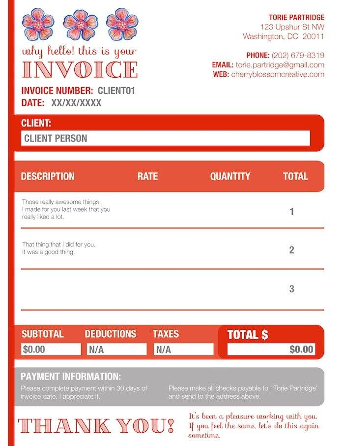 New Invoices! | Cherry Blossom Creative