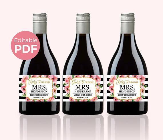 Floral Mini Wine Bottle Labels PDF Kate Bridal Shower Wine