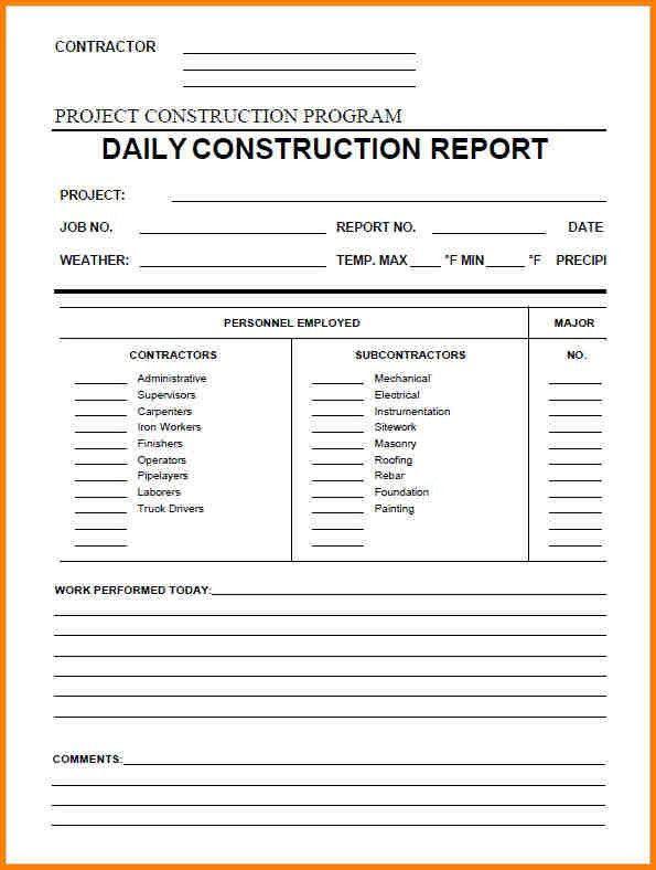 Daily Report Construction Sample – Printable Editable Blank ...