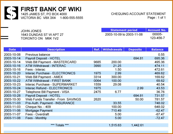 8+ bank statement template | Authorizationletters.org