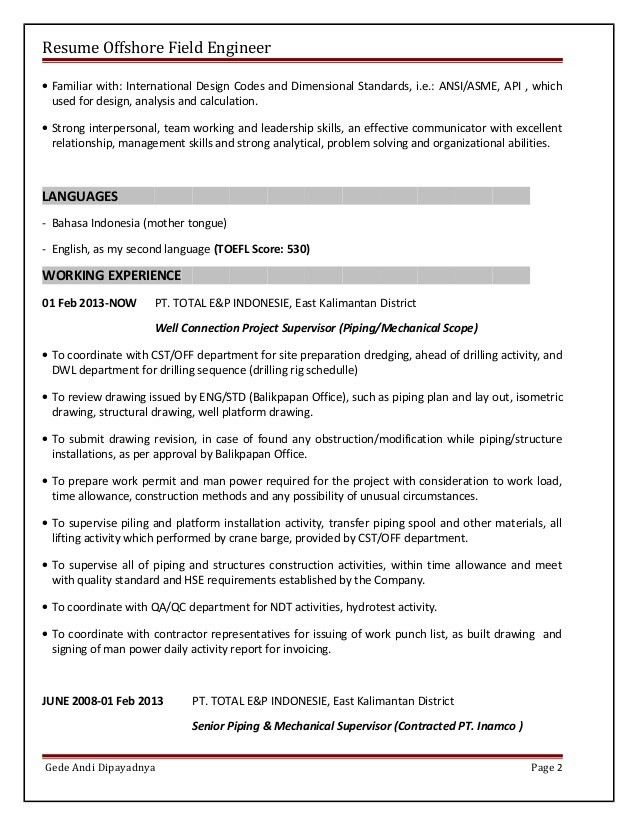 Piping Field Engineer Sample Resume | haadyaooverbayresort.com