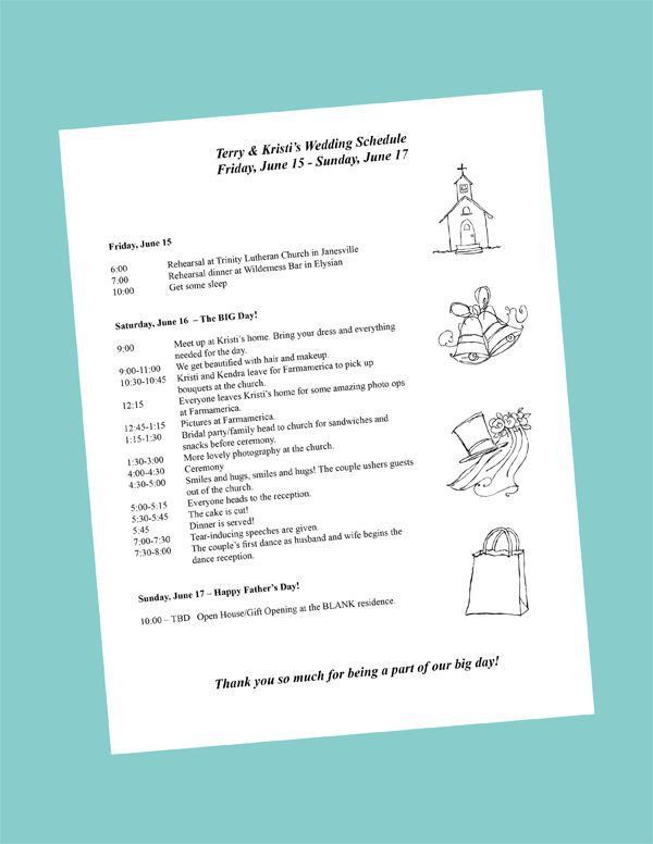 sample wedding day itinerary template