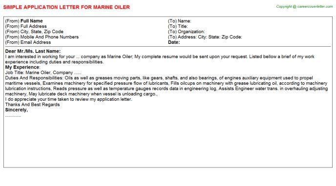 Marine Oiler Application Letter