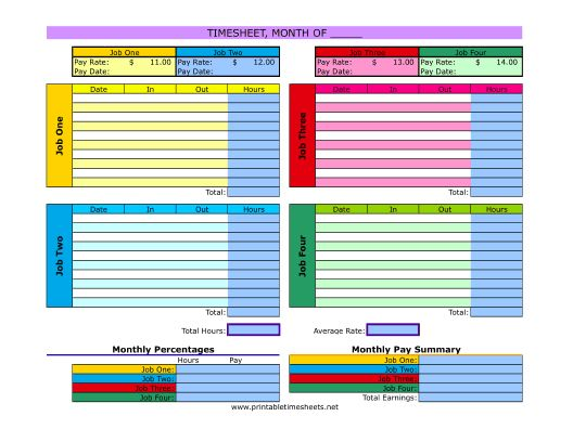 Multiple Job Timesheet Printable Time Sheet