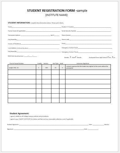 Student Registration Forms for MS Word | Word & Excel Templates