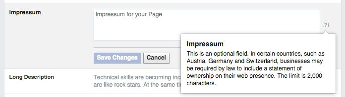 Using Impressum on your Facebook Fan Page | Privacy Policy