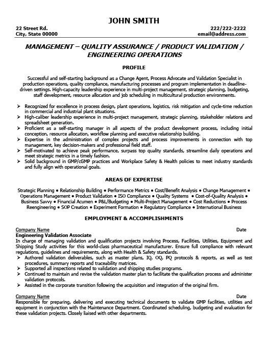 Sample Resume For Quality Manager - Gallery Creawizard.com