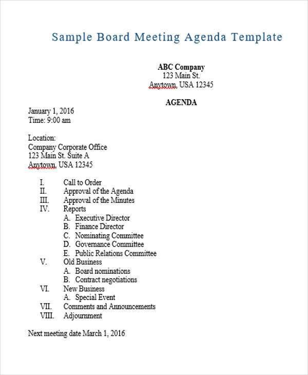 Agenda Outline Templates - 10+ Free Word, PDF Format Download ...