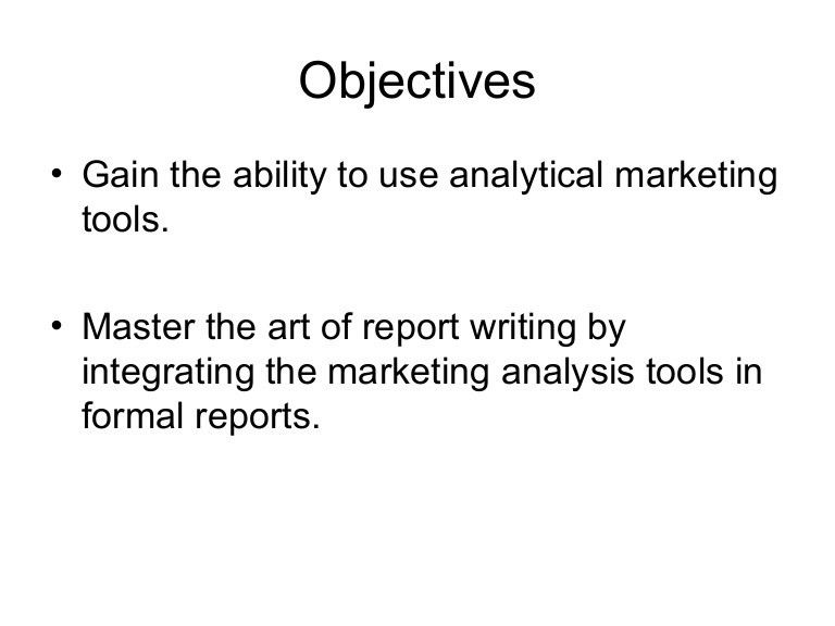 Sample Report Writing For Marketers