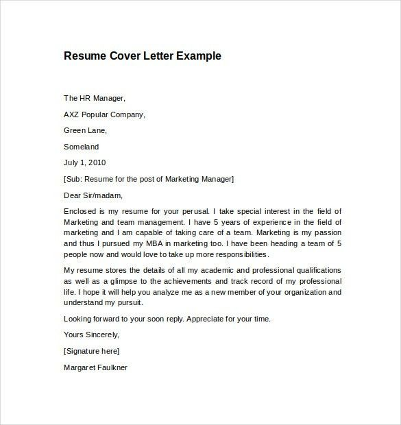 Cover Letter Wording Examples