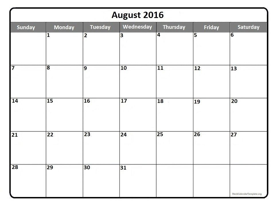 August 2016 calendar * August 2016 calendar printable