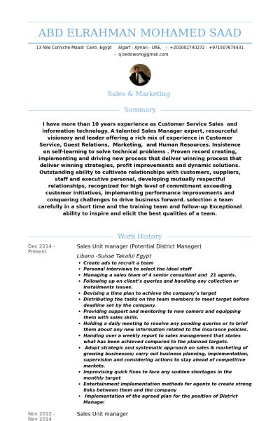 Unit Manager Resume samples - VisualCV resume samples database
