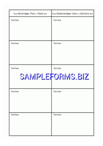 T Chart Template & samples forms
