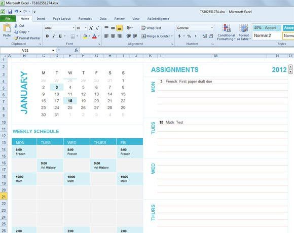 Student Planning Template for Excel 2007 & 2010