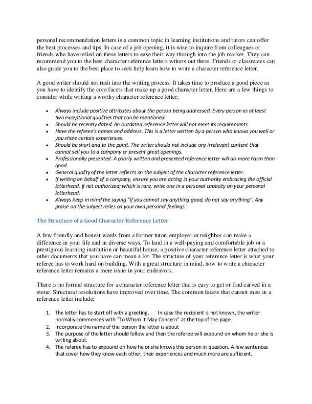 Writing Guidelines Recommendation Letter. Writing; 2 Personal ...