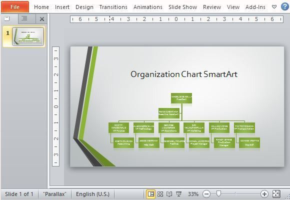 Widescreen Organizational Chart Template For PowerPoint