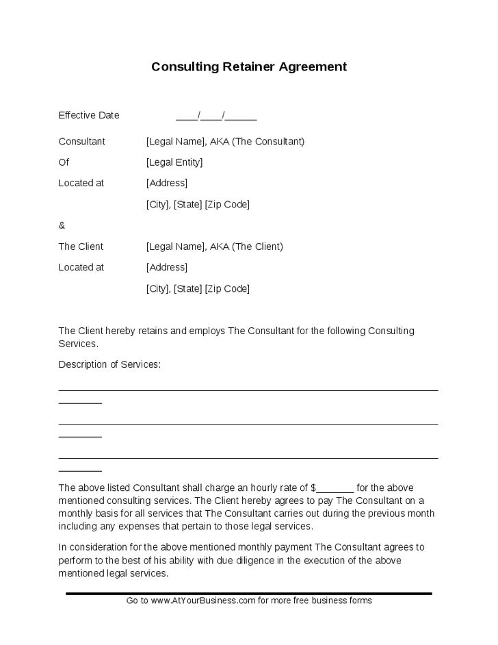 Consulting Contract Template Free consulting-retainer-agreement ...